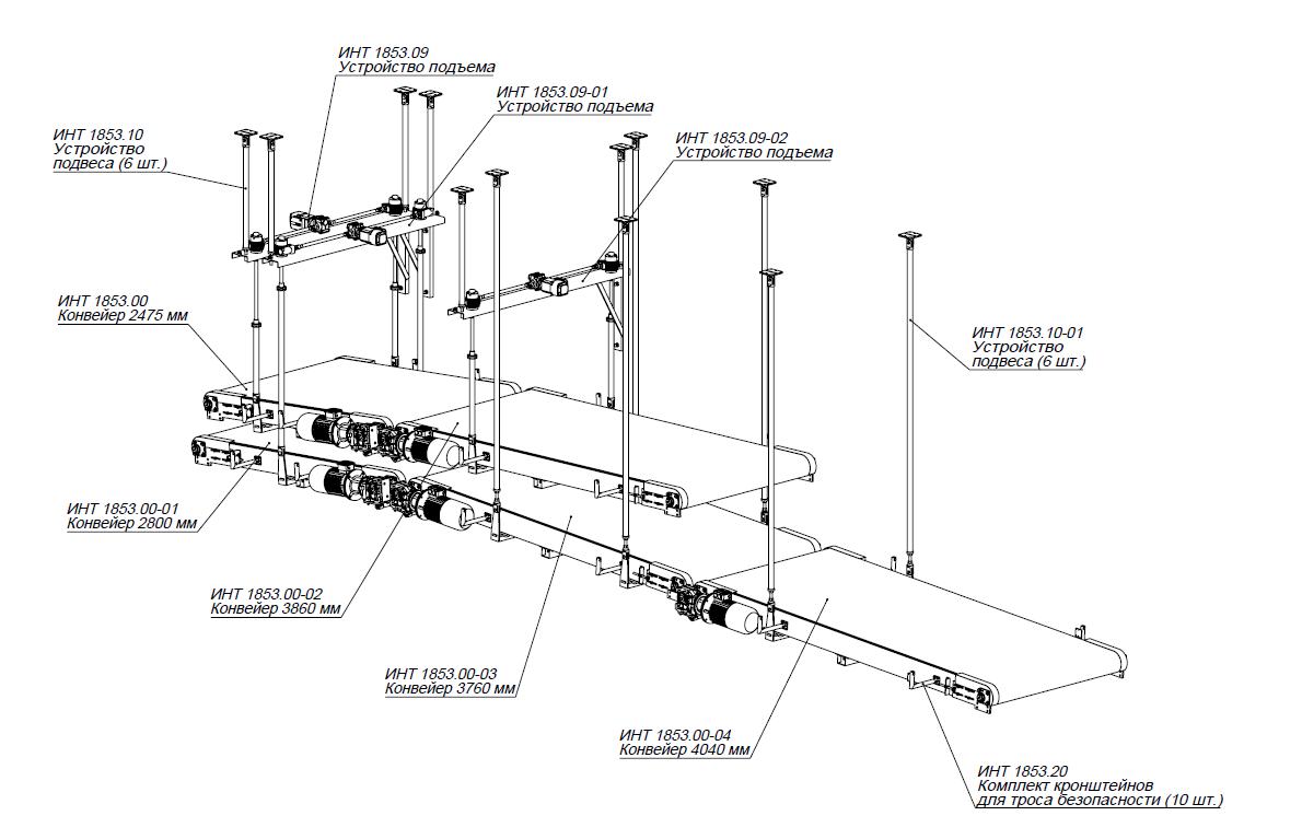 система подвеса на конвейер